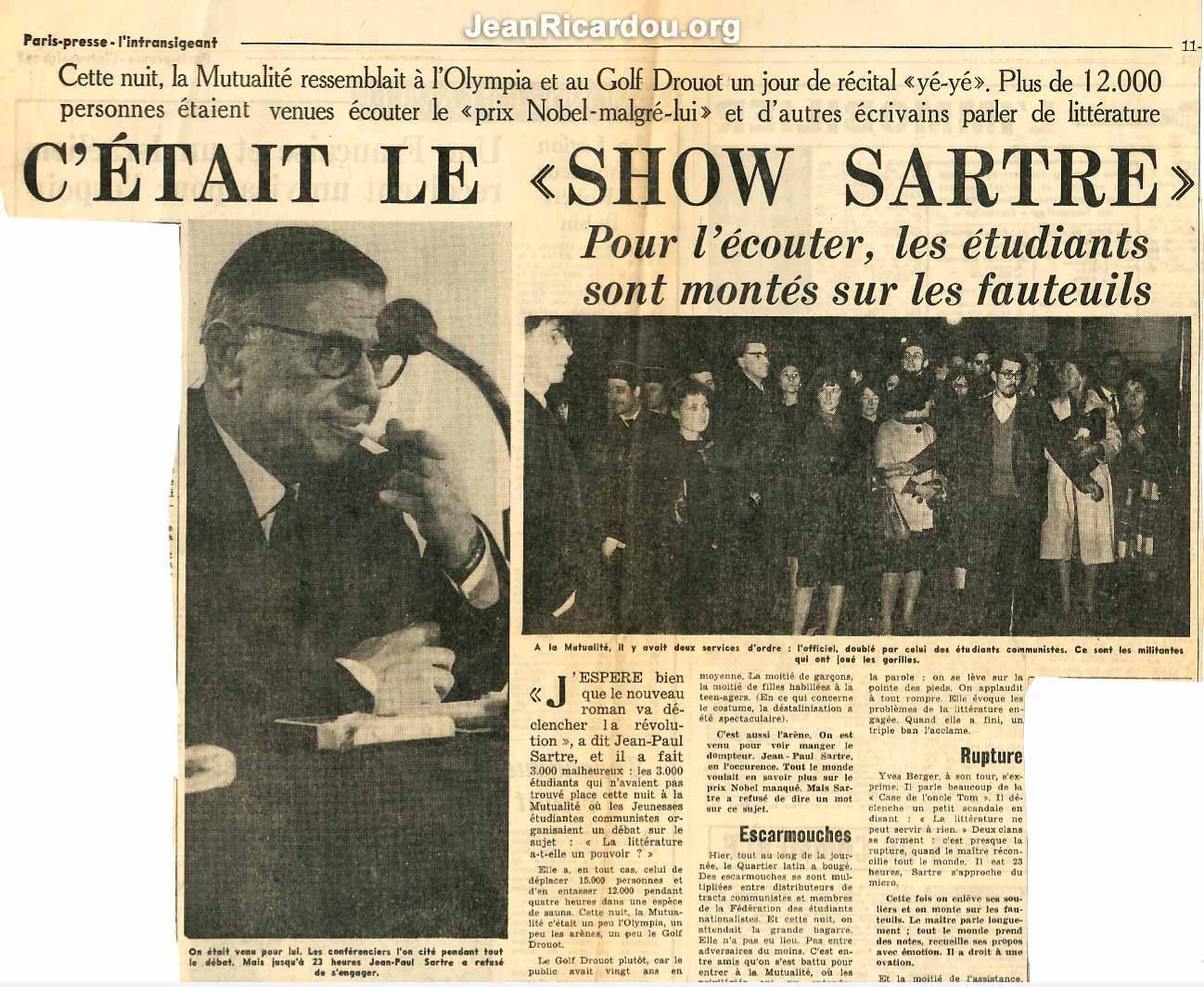 Article du Paris-presse L'intransigeant relatant la soirée de la Mutualité